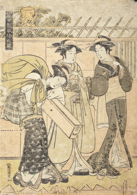 Geisha and Attendants by a Wharf in the Fukagawa district LACMA M.2006.136.309