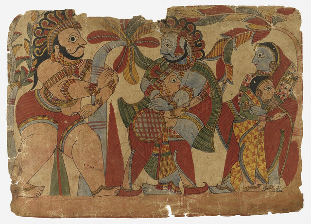Ghatotkacha Revives and Embraces Cousin Abhimanyu While the Two Mothers also Embrace, Scene from the Story of the Marriage of Abhimanyu and Vatsala, Folio from a Mahabharata ((War of the) LACMA M.82.234.2