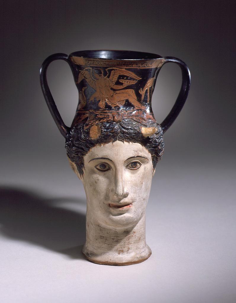 Head-Kantharos of a Female Faun or Io (?) LACMA 50.8.25