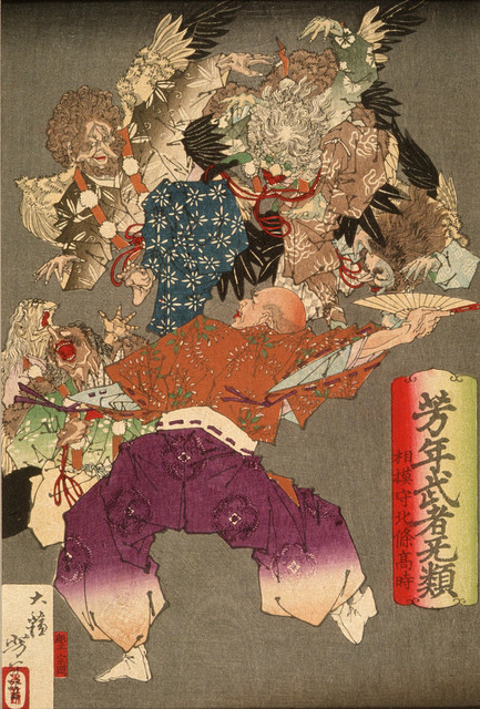 Hojo Takatoki, Lord of Sagami, Warding Off Tengu with His Fan LACMA M.84.31.73