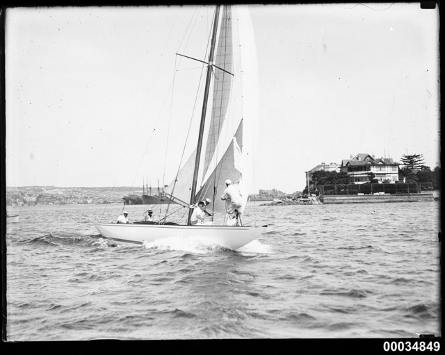 8-metre class yacht, possibly NORN, on Sydney Harbour