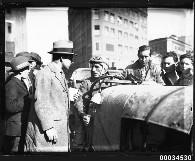 Francis Birtles in the driver's seat of the 'Sundowner' in Sydney, 16 July 1928