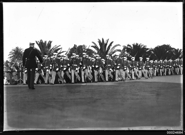 United States Marines marching near Sydney's Royal Botanic Gardens