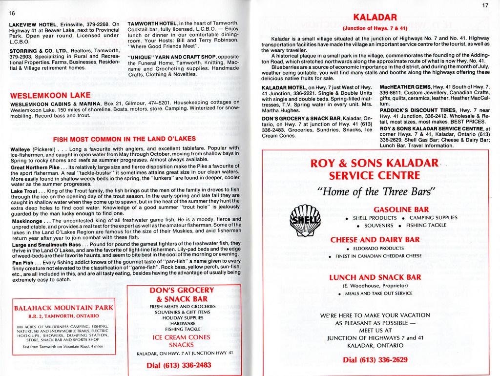 1977-78 Land O' Lakes Vacation Guide - Kaladar