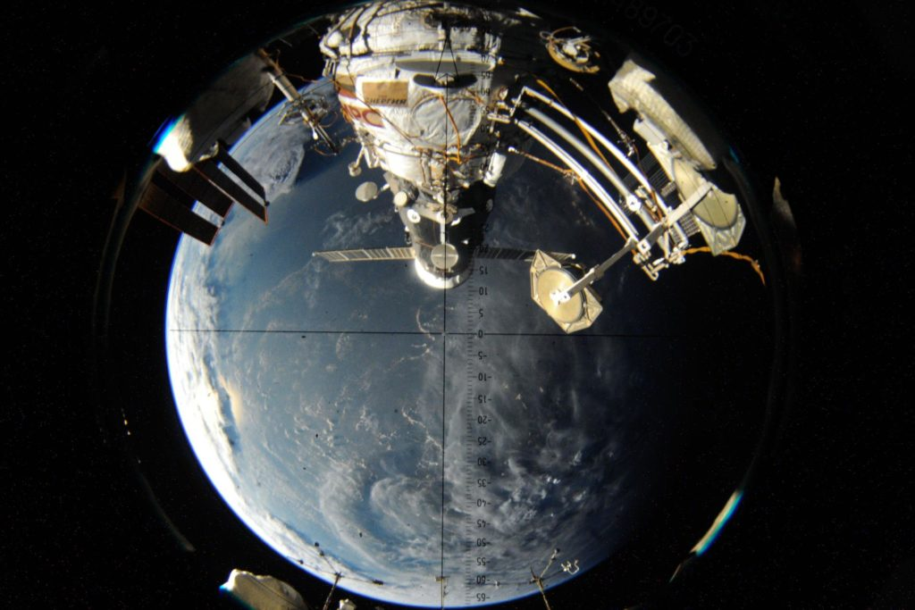 iss048e045888 (07/29/2016) --- The visual scope looking down at the Pirs docking compartment on the Russian segment of the International Space Station. Currently seen docked to Pirs is the ISS Progress 64 cargo craft, which delivered over 3 tons of food, fuel and supplies to the crew of Expedition 48 iss048e045888