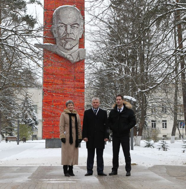 At the Gagarin Cosmonaut Training Center in Star City, Russia, the Expedition 50-51 crew poses for pictures Nov. 1 in front of Lenin's Statue before departing for their launch site in Baikonur, Kazakhstan. From left to right are Peggy Whitson of NASA, Oleg Novitskiy of the Russian Federal Space Agency (Roscosmos) and Thomas Pesquet of the European Space Agency. The trio will launch Nov. 18, Baikonur time, on the Soyuz MS-03 spacecraft for a six-month mission on the International Space Station.  NASA/Stephanie Stoll jsc2016e179946