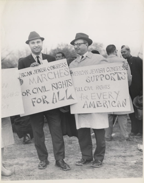 American Jewish Congress members holding signs at Montgomery March, 1965