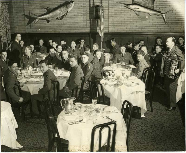 City Athletic Club, members dining with accordion player