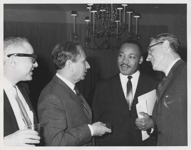 Joachim Prinz, Martin Luther King, Jr., and Shad Polier at American Jewish Congress fundraising event