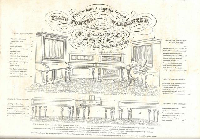 W. Pinnock piano fortes trade advert