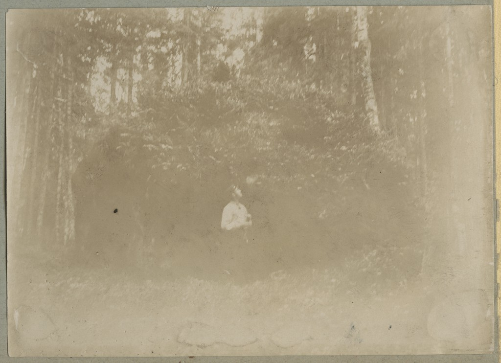 Mees tugevalt sammaldunud rändrahnu taustal / A man in front of a heavily mossed erratic boulder