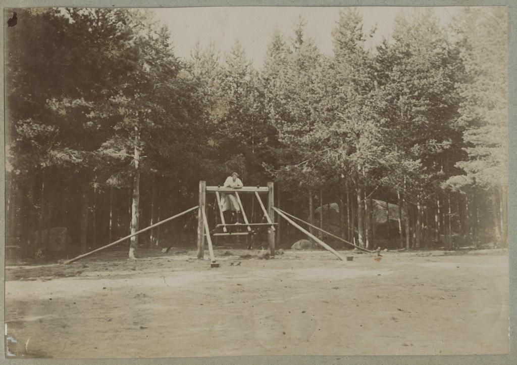 Naine külakiigel / A woman on a swing