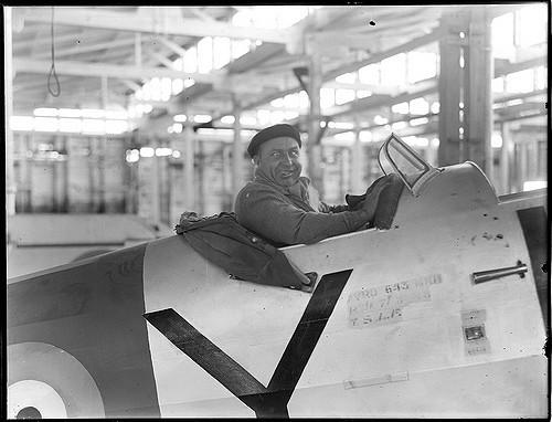Alfi Fowler in the cockpit of Arvro Anson