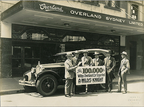 The 100,000th Willys-Overland exported car, outside Overland ...