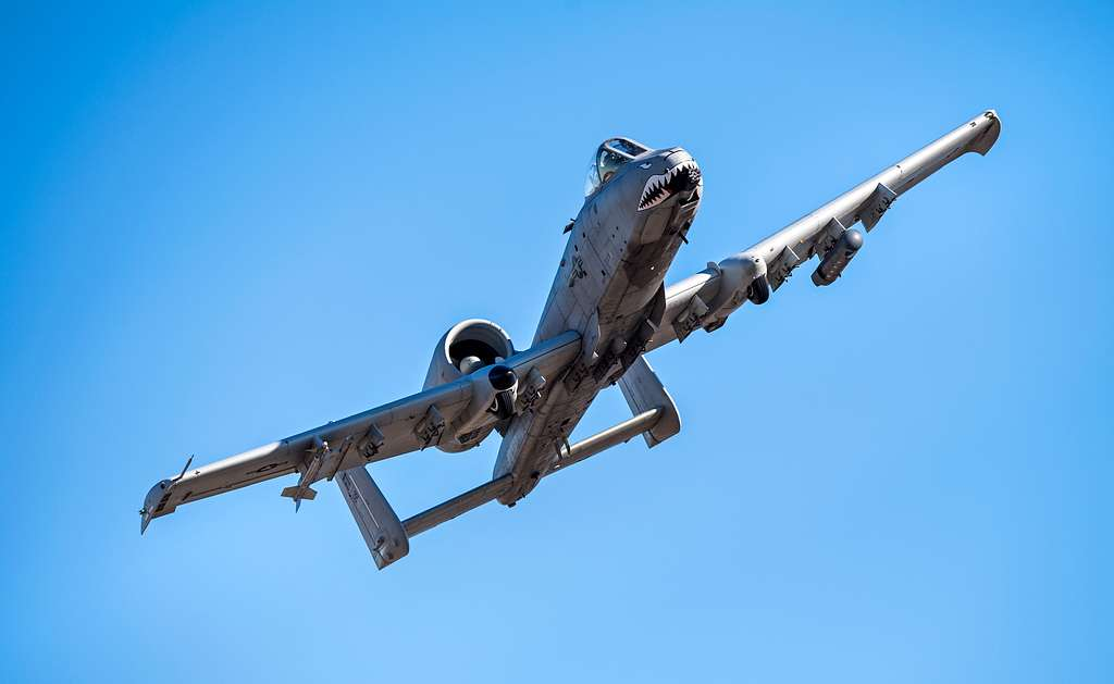 An A-10C Thunderbolt II soars through the skies in