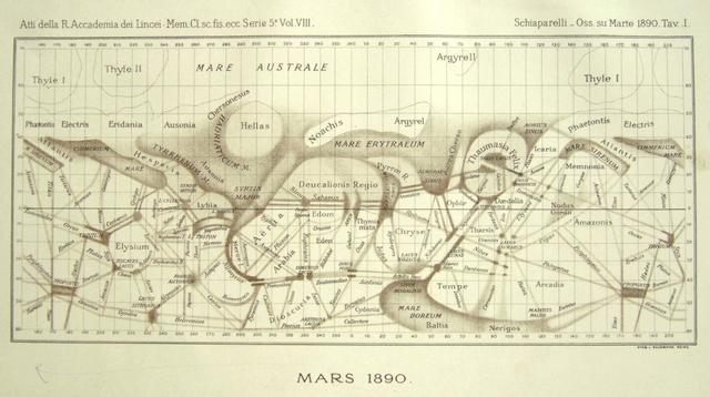 Mars Map 1890 Giovanni Schiaparelli