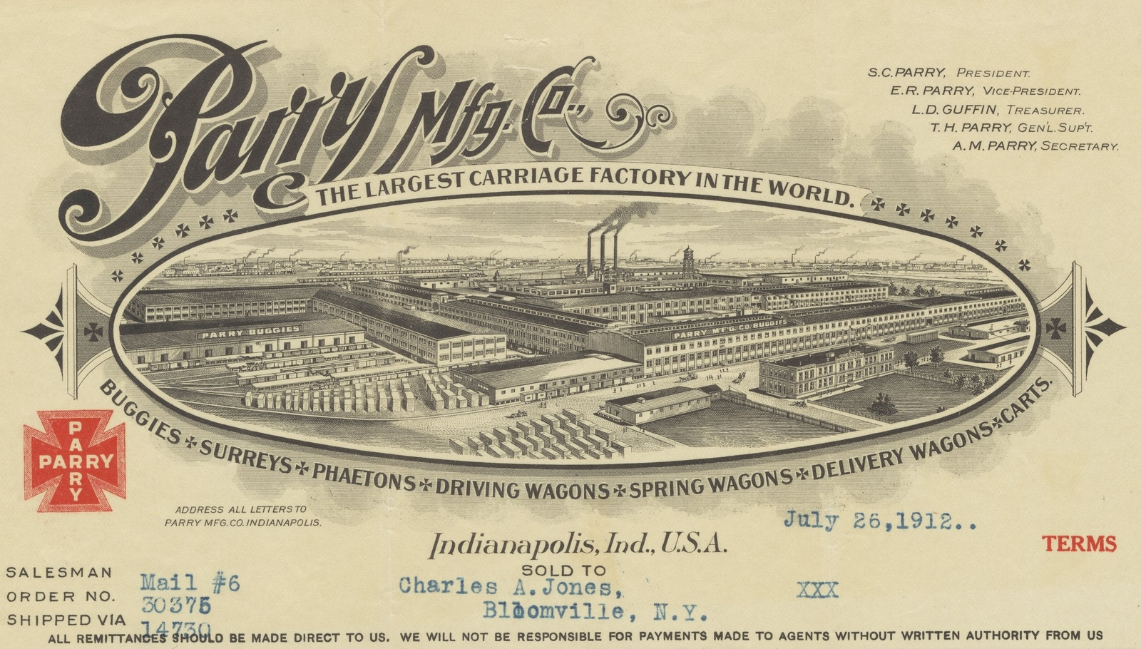 Parry Mfg. Co. (Carriages) Indianapolis, Indiana 1912 ac