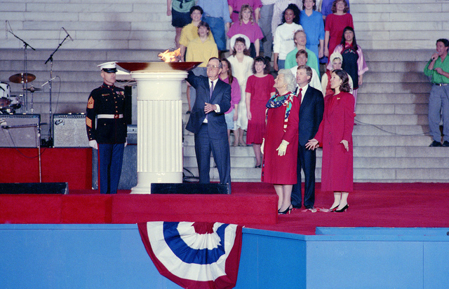 1989 Presidential Inaugration, George H. W. Bush, Opening Ceremonies, at Lincoln Memorial