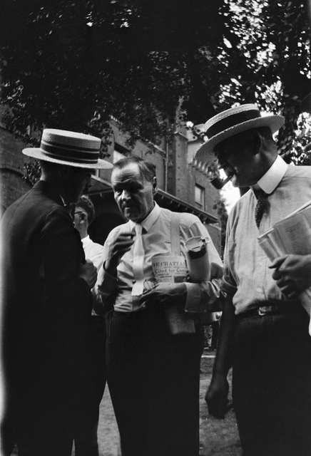 Clarence S. Darrow (center) standing near Rhea County Courthouse with unidentified man (left) and Gordon McKenzie (right), Dayton, Tennessee, probably July 20, 1925.