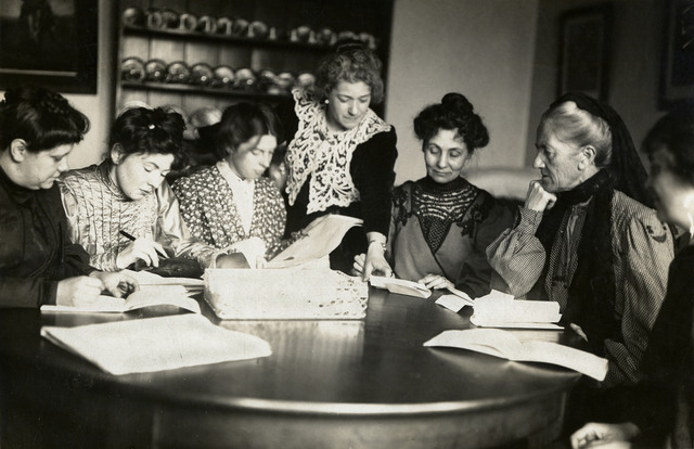 Meeting of Women's Social & Political Union (WSPU) leaders, c.1906 - c.1907.