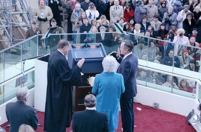 1989 Presidential Inauguration, George H. W. Bush, Opening Ceremonies, at Capitol, Swearing In