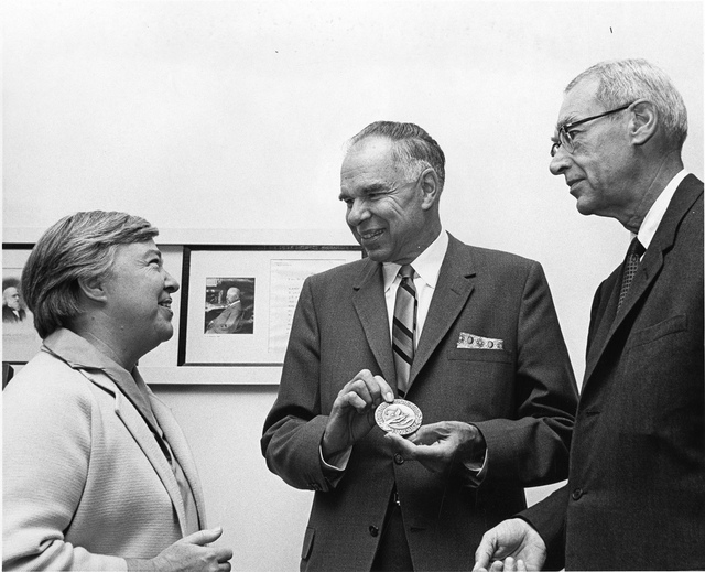 left to right: Dixy Lee Ray (1914-1994), Glenn Theodore Seaborg (1912-1999), and Ed Westcott