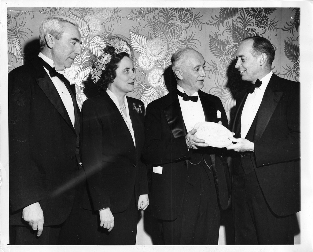 left to right: John Rock, Mary Woodard Lasker (1900-1994), Richard Norris Pierson, Jr. (b. 1929), and Cornelius P. Trowbridge (1898?-1973)