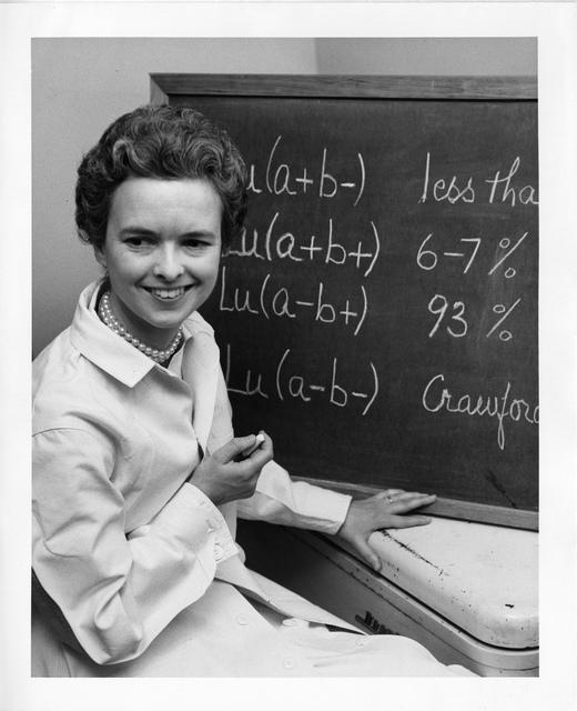Mary N. Crawford, shown sitting next to blackboard