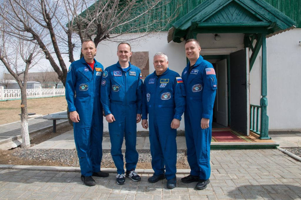 jsc2017e043854 (April 14, 2017) --- At the Baikonur Cosmodrome in Kazakhstan, the Expedition 51 prime and backup crewmembers pose for pictures April 14 in front of the cottage where Yuri Gagarin slept on the eve of his historic launch on April 12, 1961 to become the first human to fly in space. From left to right are backup crewmembers Randy Bresnik of NASA and Sergey Ryazanskiy of the Russian Federal Space Agency (Roscosmos) and prime crewmembers Fyodor Yurchikhin of Roscosmos and Jack Fischer of NASA. Yurchikhin and Fischer will launch April 20 on the Soyuz MS-04 spacecraft for a four and a half month mission on the International Space Station. Credit: NASA/Victor Zelentsov jsc2017e043854