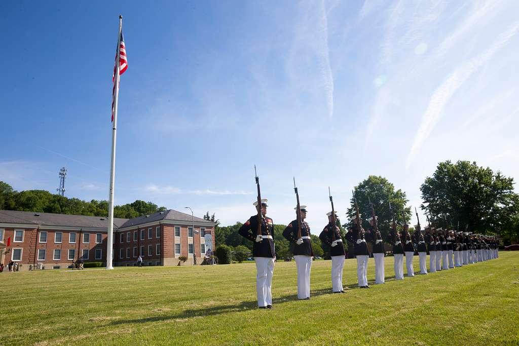 The U.S. Marine Corps Silent Drill Platoon practice