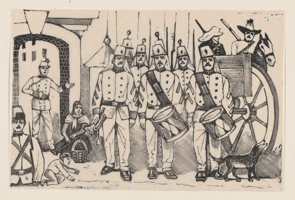 A marching band standing in a street, illustration from 'La gorra del cuartel'