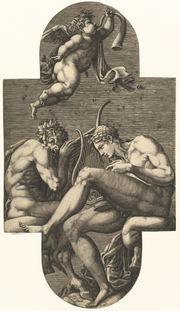 Apollo, Pan, and a putto blowing a horn,  from a series of eight compositions after Francesco Primaticcio's designs for the ceiling of the Ulysses Gallery (destroyed 1738-39) at Fontainebleau