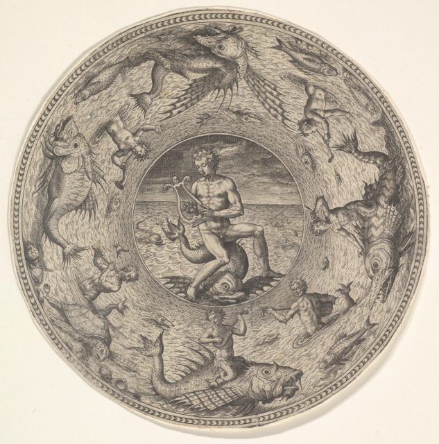 Arion on a Dolphin surrounded by a Border decorated with Sea Creatures, from a Set of Circular Designs with Sea Gods