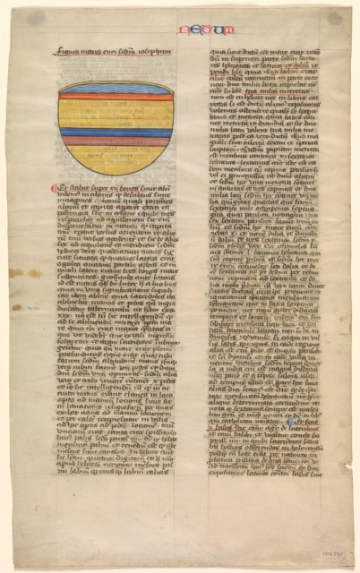 Brazen Sea, one of six illustrated leaves from the Postilla Litteralis (Literal Commentary) of Nicholas of Lyra