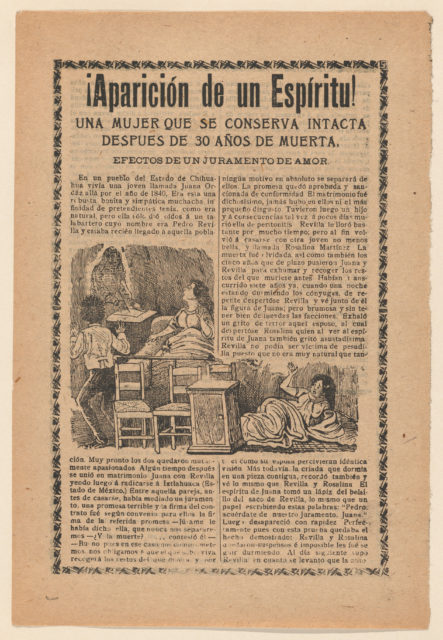 Broadside relating to a news story about an apparition of a spirit, women sitting up in bed looking at a ghost
