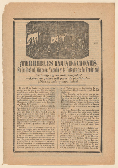 Broadside relating to a news story about floods in multiple cities, villagers wading through water