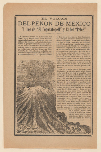 Broadside relating to a news story about the destruction following a volcanic eruption, volcano erupting while animals and men on horseback flee