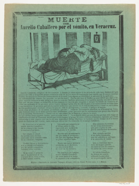 Broadside relating to Aurelio Cabellero who died from vomiting