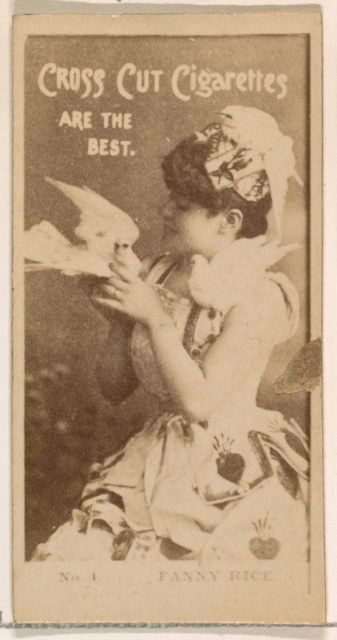 Card Number 1, Fanny Rice, from the Actors and Actresses series (N145-2) issued by Duke Sons & Co. to promote Cross Cut Cigarettes