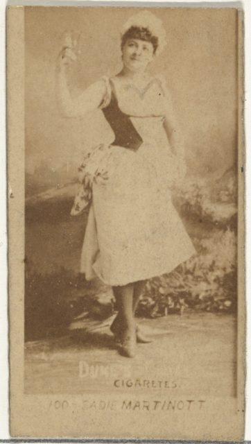 Card Number 100, Sadie Martinot, from the Actors and Actresses series (N145-6) issued by Duke Sons & Co. to promote Duke Cigarettes