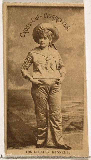 Card Number 106, Lillian Russell, from the Actors and Actresses series (N145-2) issued by Duke Sons & Co. to promote Cross Cut Cigarettes