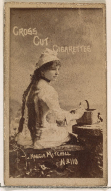 Card Number 110, Maggie Mitchell, from the Actors and Actresses series (N145-1) issued by Duke Sons & Co. to promote Cross Cut Cigarettes