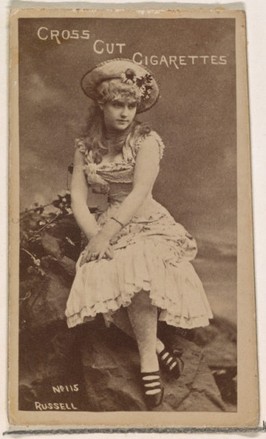 Card Number 115, Lillian Russell, from the Actors and Actresses series (N145-1) issued by Duke Sons & Co. to promote Cross Cut Cigarettes