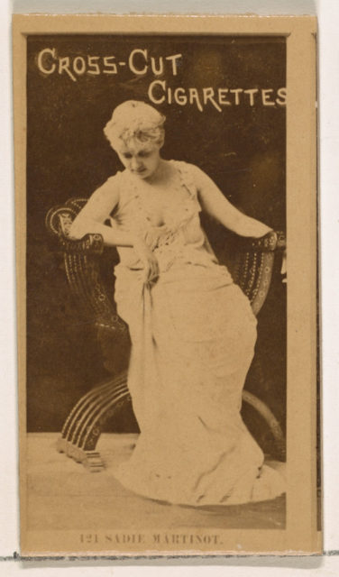 Card Number 121, Miss Sadie Martinot, from the Actors and Actresses series (N145-2) issued by Duke Sons & Co. to promote Cross Cut Cigarettes