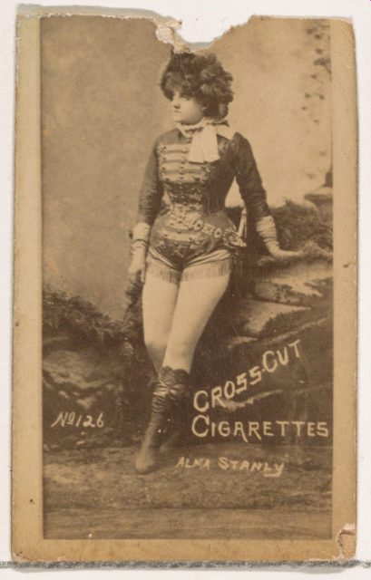 Card Number 126, Alma Stanley, from the Actors and Actresses series (N145-1) issued by Duke Sons & Co. to promote Cross Cut Cigarettes