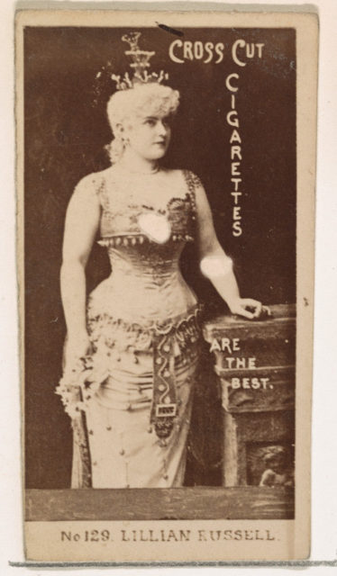 Card Number 129, Lillian Russell, from the Actors and Actresses series (N145-2) issued by Duke Sons & Co. to promote Cross Cut Cigarettes