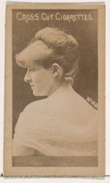Card Number 142, Sadie Martinot, from the Actors and Actresses series (N145-1) issued by Duke Sons & Co. to promote Cross Cut Cigarettes