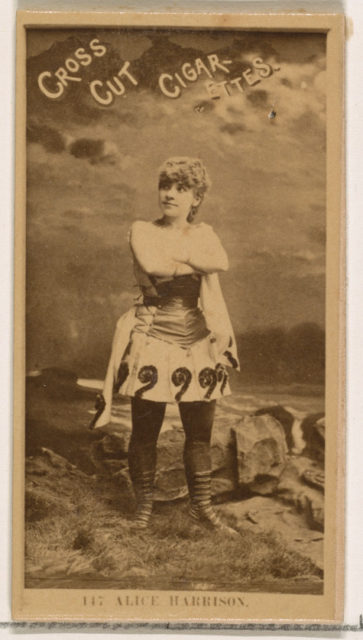 Card Number 147, Alice Harrison, from the Actors and Actresses series (N145-2) issued by Duke Sons & Co. to promote Cross Cut Cigarettes