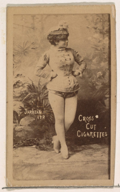 Card Number 152, Jarbeau, from the Actors and Actresses series (N145-1) issued by Duke Sons & Co. to promote Cross Cut Cigarettes