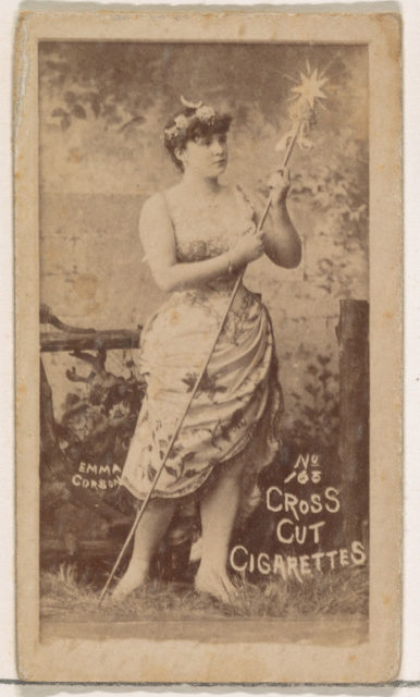 Card Number 165, Emma Corson, from the Actors and Actresses series (N145-1) issued by Duke Sons & Co. to promote Cross Cut Cigarettes